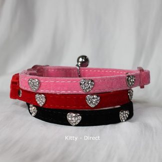 Velvet diamante heart cat and kitten safety collar