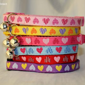 Handmade hearts cat and kitten safety collar