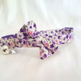 Handmade Cotton Purple Flowers Cat Kitten Safety collar with Optional Bow