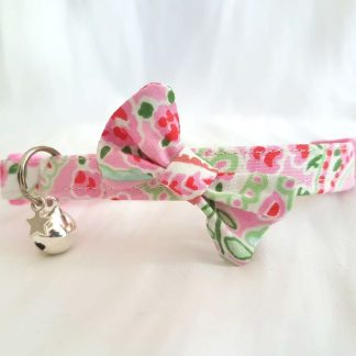 Handmade Cath Kidston Kitten Cat Safety Collar with bow