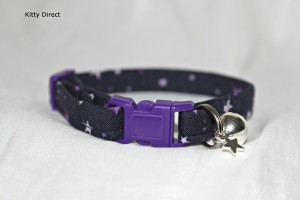 Handmade Purple Stars Cotton Cat Kitten Safety Collar_3