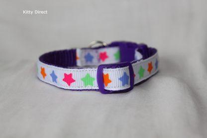 Handmade Fabric Stars Cat Kitten Safety Collar_White 1