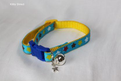 Handmade Fabric Stars Cat Kitten Safety Collar_ blue 2