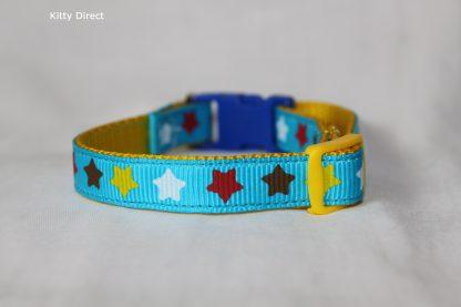 Handmade Fabric Stars Cat Kitten Safety Collar_Blue 2