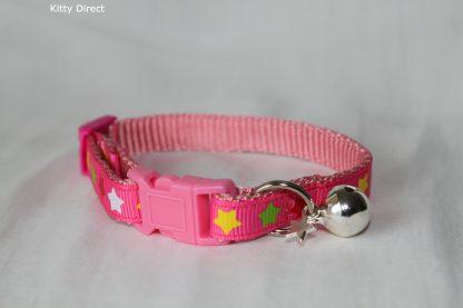 Handmade Fabric Stars Cat Kitten Safety Collar_Pink 2