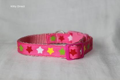 Handmade Fabric Stars Cat Kitten Safety Collar_Pink 1
