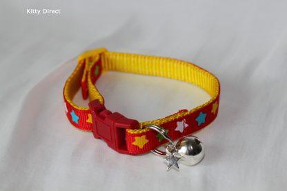 Handmade Fabric Stars Cat Kitten Safety Collar_Red 2