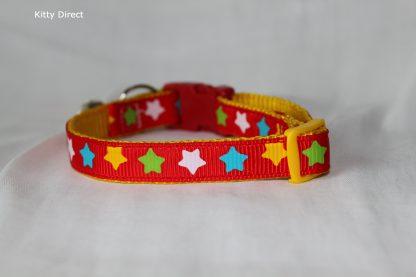 Handmade Fabric Stars Cat Kitten Safety Collar_red