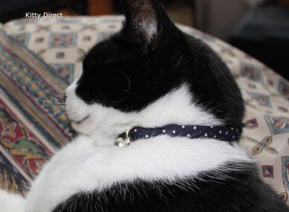 Handmade Cotton Tiny Stars Cat Kitten Safety Collar_Blue 4