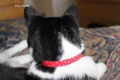 Handmade Cotton Tiny Stars Cat Kitten Safety Collar_ Red 5