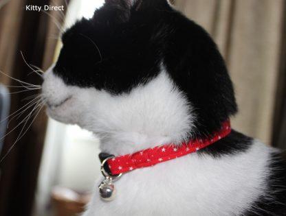 Handmade Cotton Tiny Stars Cat Kitten Safety Collar_Red 4