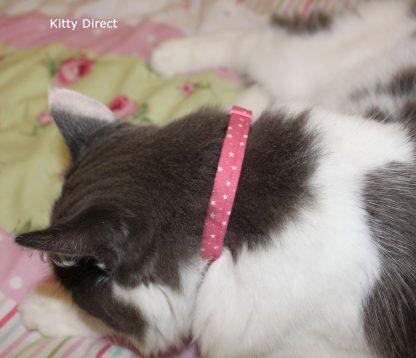 Handmade Cotton Tiny Stars Cat Kitten Safety Collar_Pink 3