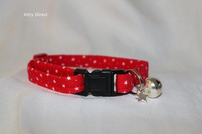 Handmade Cotton Tiny Stars Cat Kitten Safety Collar_ Red 1