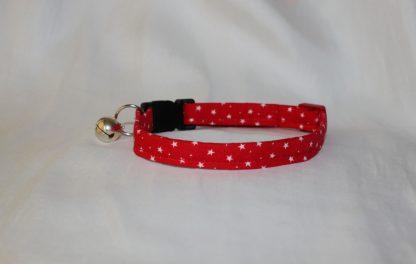 Handmade Cotton Tiny Stars Cat Kitten Safety Collar_Red 2