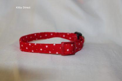 Handmade Cotton Tiny Stars Cat Kitten Safety Collar_Red 3