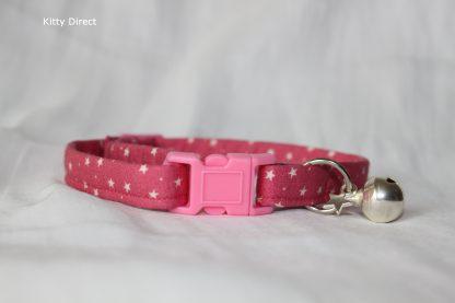Handmade Cotton Tiny Stars Cat Kitten Safety Collar_Pink 1
