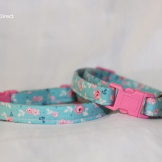 Handmade floral green cat kitten safety collar_1