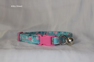 Handmade floral green cat kitten safety collar_3
