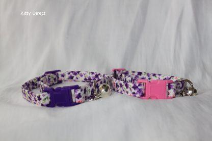 Handmade Purple Flower Cotton Cat Kitten Safety Collar_6