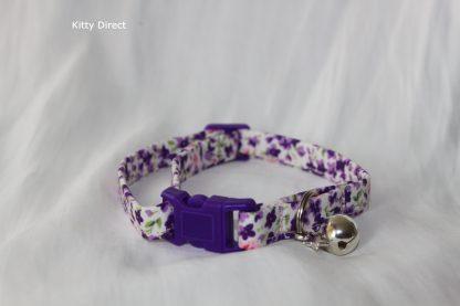 Handmade Purple Flower Cotton Cat Kitten Safety Collar