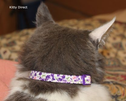 Handmade Purple Flower Cotton Cat Kitten Collar_3
