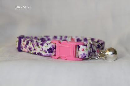 Handmade Purple Flower Cotton Cat Kitten Collar_1