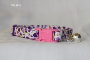 Handmade Purple Flower Cotton Cat Kitten Collar_5