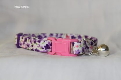 Handmade Purple Flower Cotton Cat Kitten Collar_5