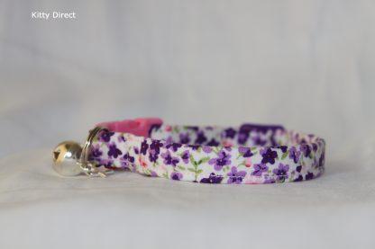 Handmade Purple Flower Cotton Cat Kitten Collar_7