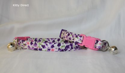 Handmade Purple Flower Cotton Cat Kitten Collar_8