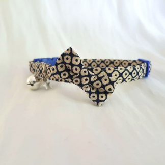 Japanese cotton handmade cat kitten collar with optional bow