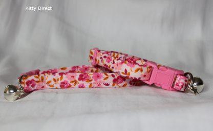 Handmade cotton cat and kitten collar floral pink_4