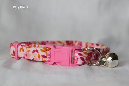 Handmade cotton cat and kitten collar floral pink_5