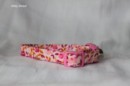 Handmade cotton cat and kitten collar floral pink_6