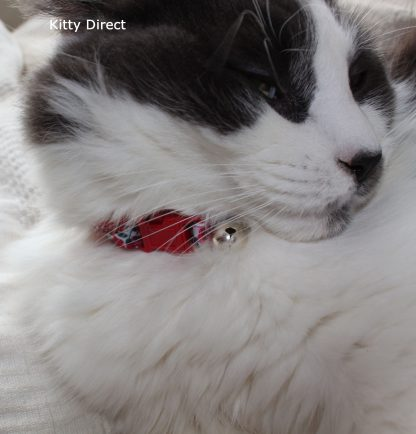 Handmade Red Rose Fabric Cat Kitten Collar _4