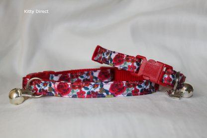 Handmade Red Rose Fabric Cat Kitten Collar _6