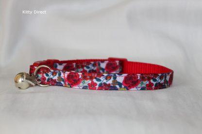Handmade Red Rose Fabric Cat Kitten Collar _7