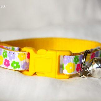 Yellow Flower Fabric Cat Kitten Safety Collar_2