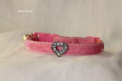 Handmade velvet diamante cat kitten safety collar_pink 3