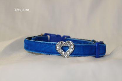 Handmade velvet diamante cat kitten safety collar_blue 2