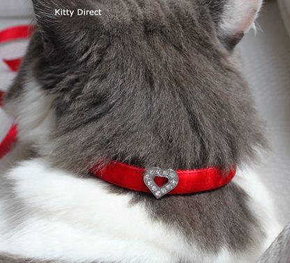 Handmade velvet diamante cat kitten safety collar_red 2