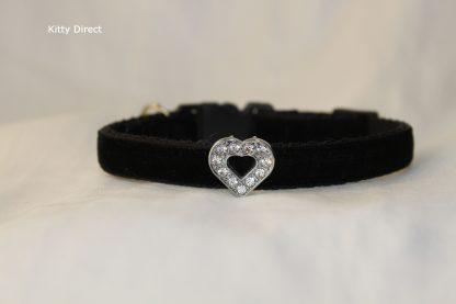 Handmade velvet diamante cat kitten safety collar_black 1