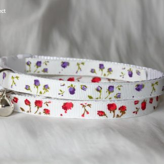 Rose Flower White Fabric Cat Safety Collar