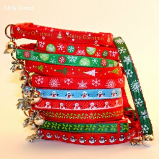 Christmas Xmas Cat Kitten Safety Collar with Bell and Charm