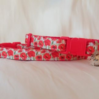 Red Poppy Flower Cat Kitten Safety collar