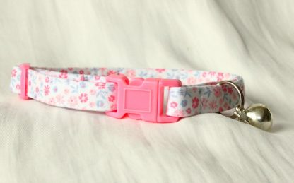 Pink Cotton Cat Kitten Safety Collar Ditsy Flowers_1
