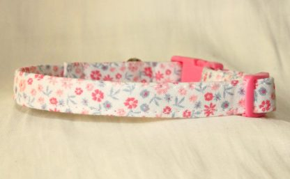 Pink Cotton Cat Kitten Safety Collar Ditsy Flowers_4