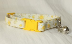 Yellow Fabric Cotton Cat Kitten Safety collar_5