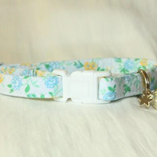 Blue Cotton Flower Cat Kitten Safety Collar_1