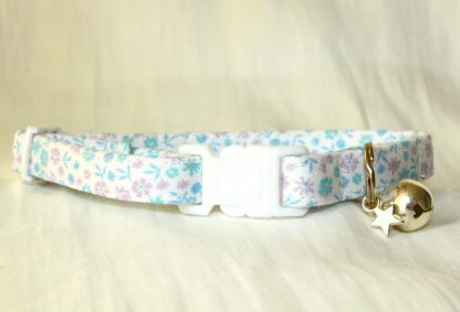 Lilac Blue Cotton Cat Kitten Safety Collar Ditsy Flowers_1